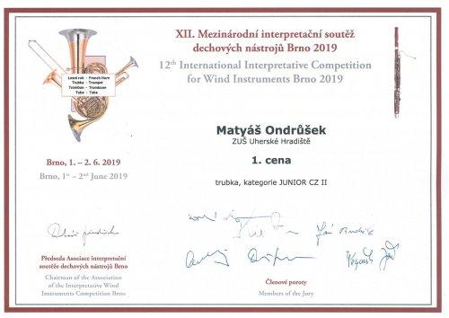 1. místo   v Mezinárodní interpretační soutěži dechových nástrojů Brno 2019