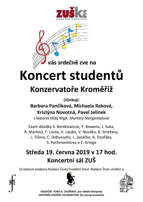 Koncert studentů klavírního | oddělení Konzervatoře Kroměříž